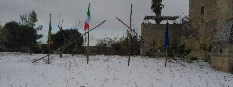 Un campo invernale sulla neve